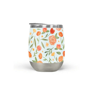 Burnt Orange Floral Wine Tumbler