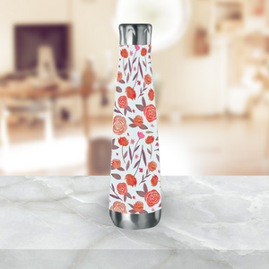 Red Floral Water Bottle