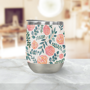 Watercolor Floral Wine Tumbler