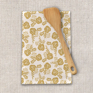 Warm Gold Floral Tea Towel