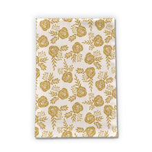 Load image into Gallery viewer, Warm Gold Floral Tea Towel