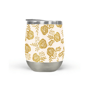 Warm Gold Floral Wine Tumbler