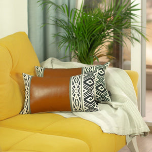 Decorative Faux Leather Throw Pillow Cover