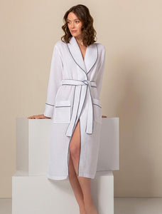 Women's White Luxury Long Waffle Bathrobe