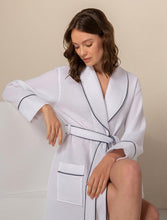 Load image into Gallery viewer, Women's White Luxury Long Waffle Bathrobe
