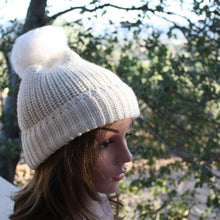 Load image into Gallery viewer, 100% Alpaca Pom-Pom Channel Beanie Hat
