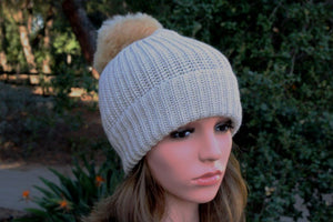 100% Alpaca Pom-Pom Channel Beanie Hat
