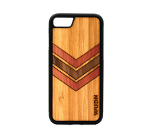Load image into Gallery viewer, Slim Wooden Phone Case (Geometric Arrow Inlay with Cedar, Bamboo & Black Walnut)