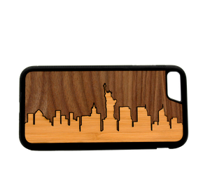 Slim Wooden Phone Case (New York Skyline Traveler - Bamboo Sky)