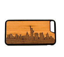 Load image into Gallery viewer, Slim Wooden Phone Case (New York Skyline Traveler - Bamboo Sky)