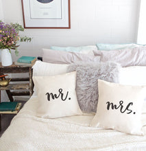 Load image into Gallery viewer, Mr. and Mrs. Pillow Covers, 2-Pack
