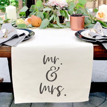 Load image into Gallery viewer, Mr. & Mrs. Cotton Canvas Table Runner
