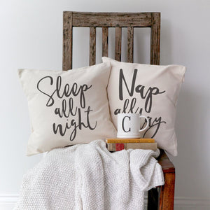 Sleep All Night and Nap All Day Pillow Covers, 2-Pack