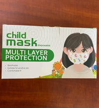 Load image into Gallery viewer, Children's Patterned 3 Ply Face Masks with Ear Loops and Anti Dust Protection - Disposable NON Medical (50 pack)