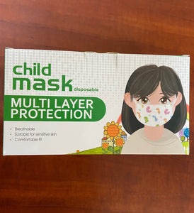 Children's Patterned 3 Ply Face Masks with Ear Loops and Anti Dust Protection - Disposable NON Medical (50 pack)