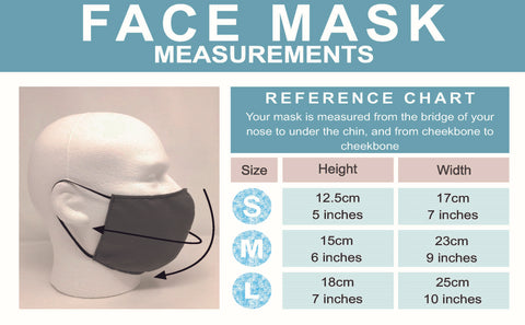 Sizing chart for reusable and washable face masks