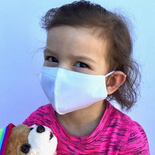 Load image into Gallery viewer, Child holding teddy bear wearing reusable 100% cotton face mask to help minimize the spread of germs and infection