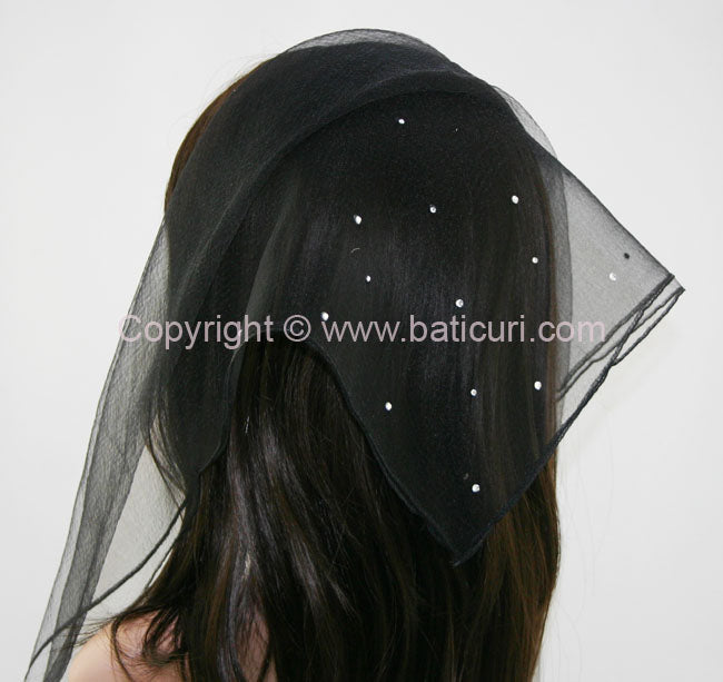 """SQ Solid Rhinestone Scattered Corner"" Black"