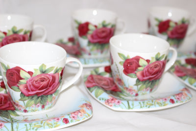 12 Piece Floral Coffee Set