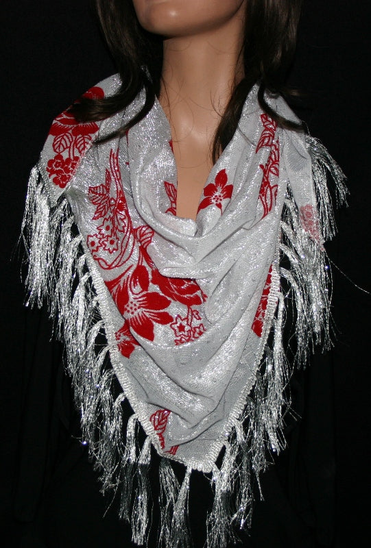 """Metallic Triangular Shawl"" White with red"