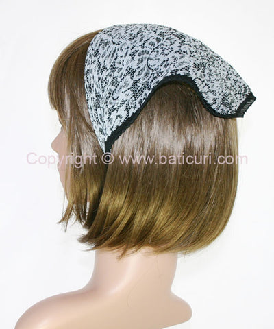 """102-18 Pleated Italian lace all over""Gray/blk"