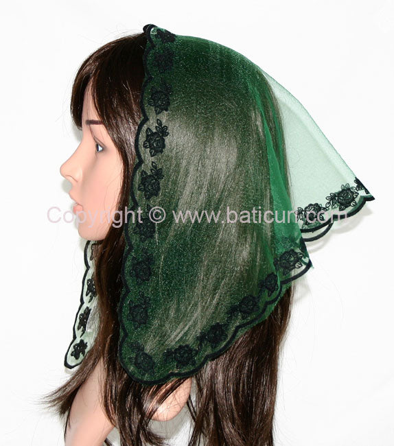 #33 Triangular Rose border-Pine green/black