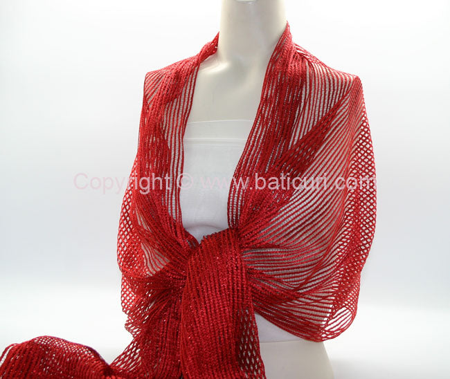 New Oblong Polyester Mesh Metallic Scarf-Red