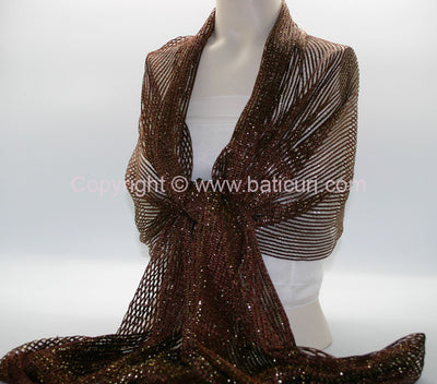 New Oblong Polyester Mesh Metallic Scarf-Brown/Gold
