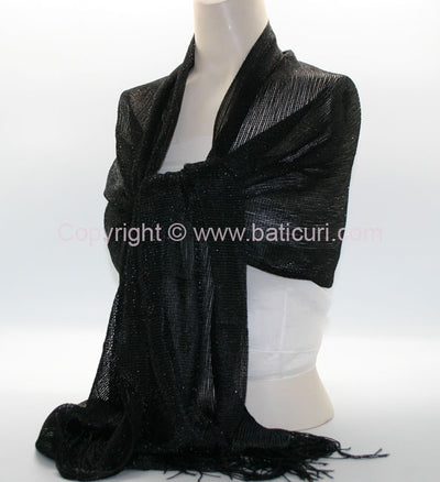 New Oblong Polyester Mesh Metallic Scarf-Black