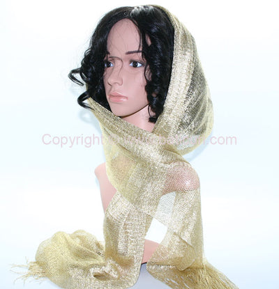 New Oblong Polyester Lightweight Mesh Metallic Scarf-Gold