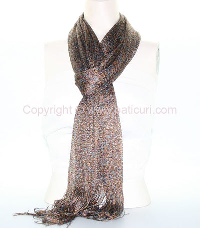 New Oblong Polyester Lightweight Mesh Metallic Scarf-Multi-color- Brown