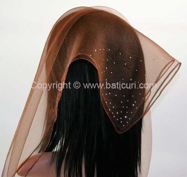 """SQ Solid Rhinestone Dense Scattered Corner"" Brown"