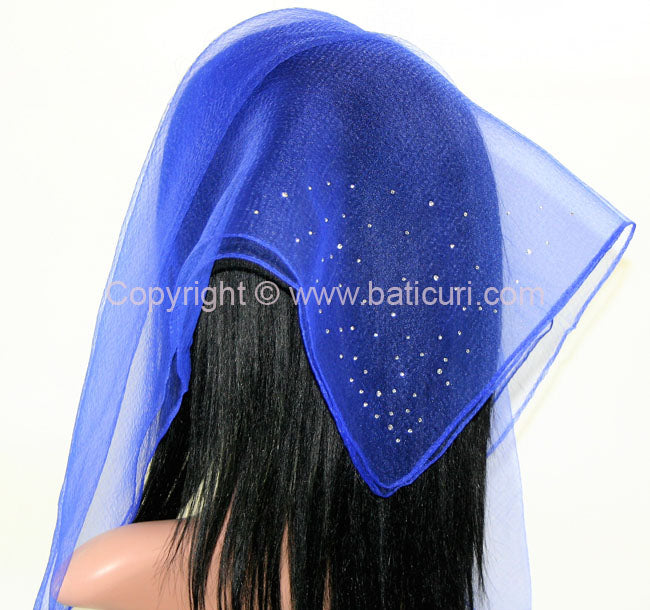 """SQ Solid Rhinestone Dense Scattered Corner"" Royal Blue"
