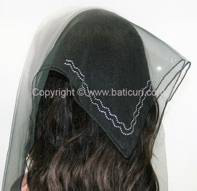 """SQ Two-tone Rhinestone Double Zig-zag "" Black"
