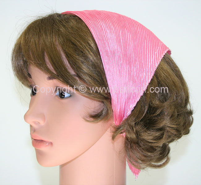 99-97 Polyester Silky Feel Pleated Scarves- Candy pink