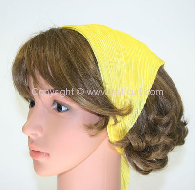 99-150 Polyester Silky Feel Pleated Scarves- Bright yellow