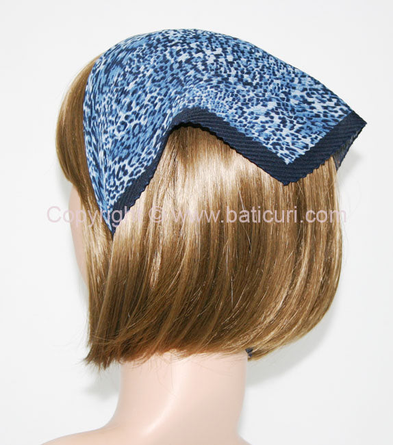 """117-94 Pleated Italian Leopard"" Blue with Navy Border"