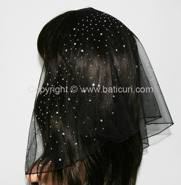98-04 half circle Lace Black  with waterfall silver  Rhinestones
