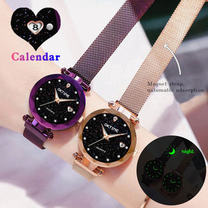 New Top Band Women's Wristwatch Noble Quartz Watch  Magnetic Strap Starry Round Dial Wrist Watches For Business Traveling