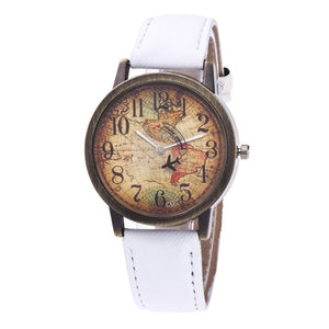 Hot Fashion Vintage Ladies Watches World Map Printing Dial Leather Strap Women Watches Quartz WristWatch Brand Clock Gift #W
