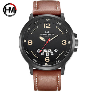 Mens Watches Top Luxury Brand Fashion Sport Men's Wristwatch Leather Quartz Military Watch Men Dispaly Date Week Clock Male 2018