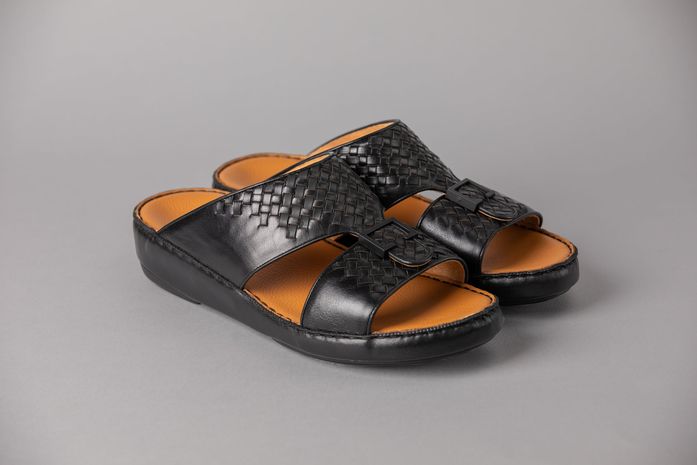 Aldino Black Half-Weave Arabic Sandal (4046WE)