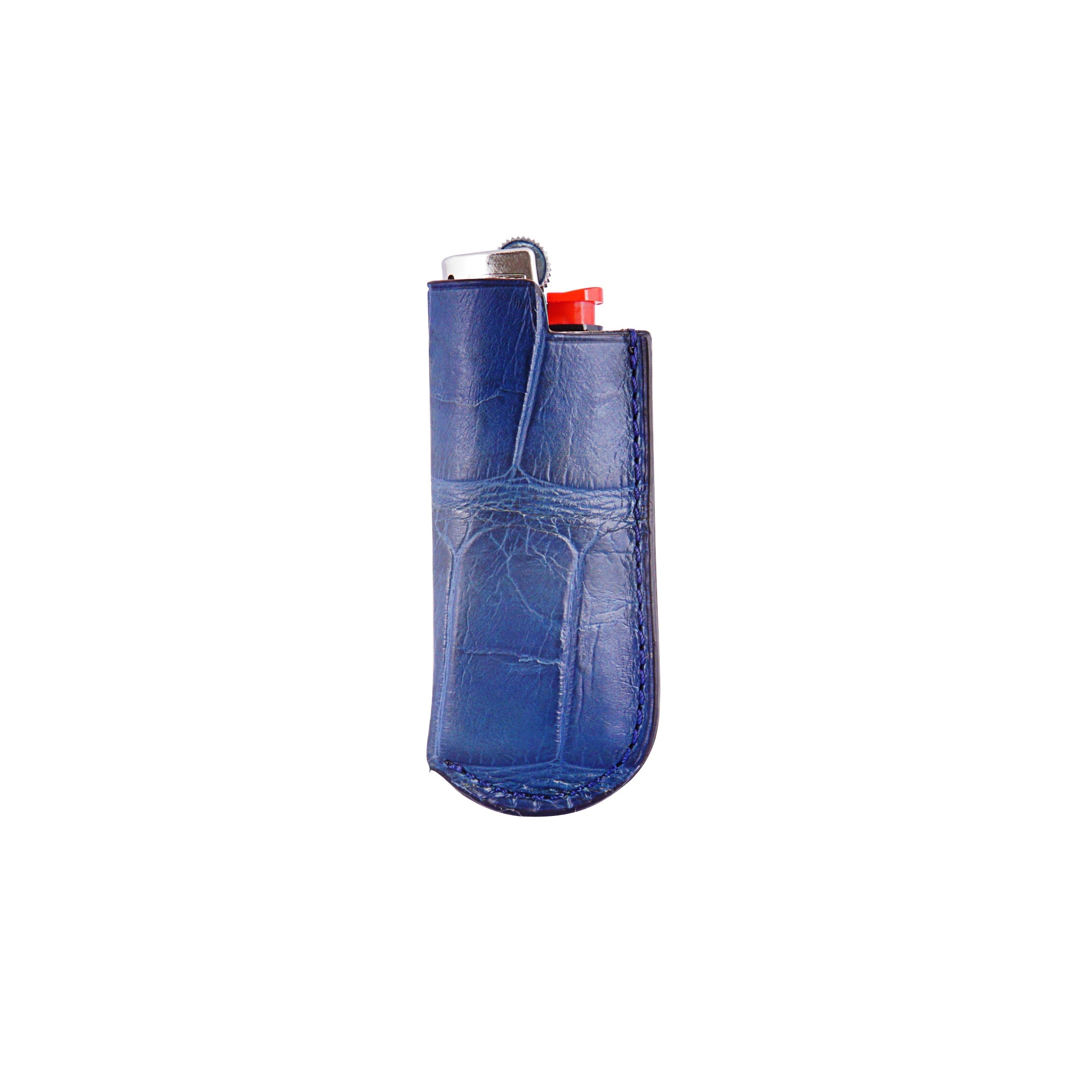 Lighter Case - Blue Crocodile Leather