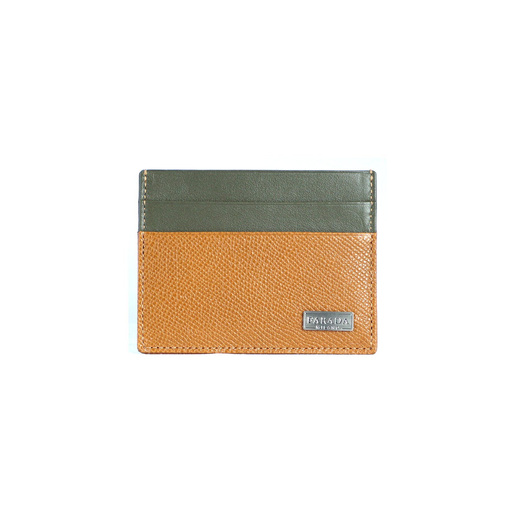 Tan Olive Saffiano Card Holder