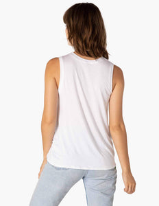 Beyond Yoga Twist Goodby Muscle Tank in White