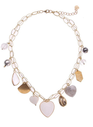 Hearts And Pearl Charm Necklace