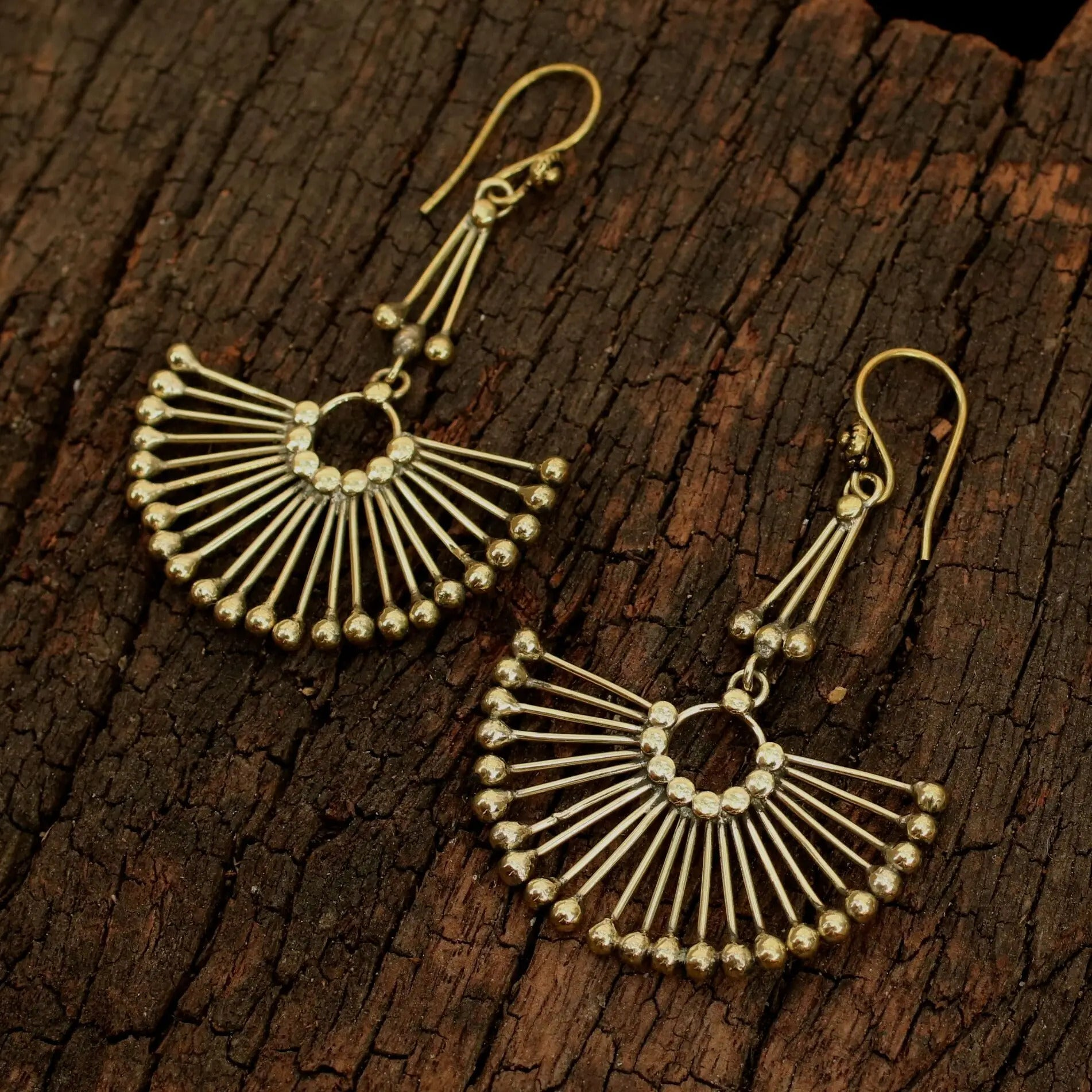 Brass Peacock Earrings