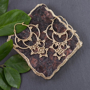 Long Seven Circle Brass Earring