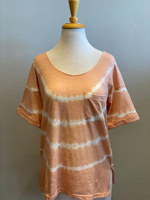 Hem & Thread Boat Neck Tie-Dye Top - Showroom56