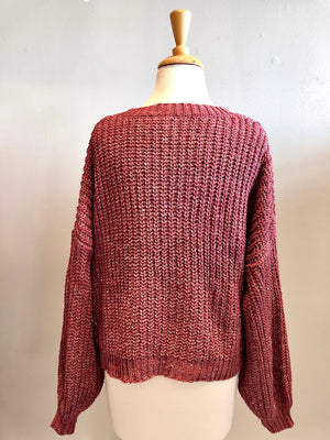 Storia V-neck Sequin Knit Sweater - Showroom56